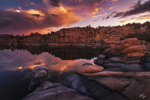 Watson Lake Art Print featuring the photograph Summer Dells Sunset by Peter Coskun