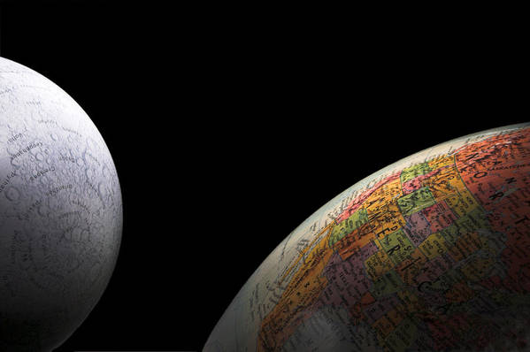 Globe Art Print featuring the photograph Earth And Moon by Rob Byron
