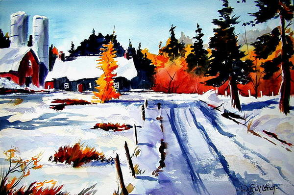Landscape Art Print featuring the painting First Snow And Last Of Fall by Wilfred McOstrich