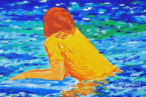 Beach Art Art Print featuring the painting One With The Sea by Art Mantia