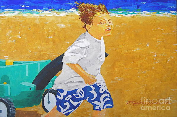 Children Art Print featuring the painting Running Against The Wind by Art Mantia