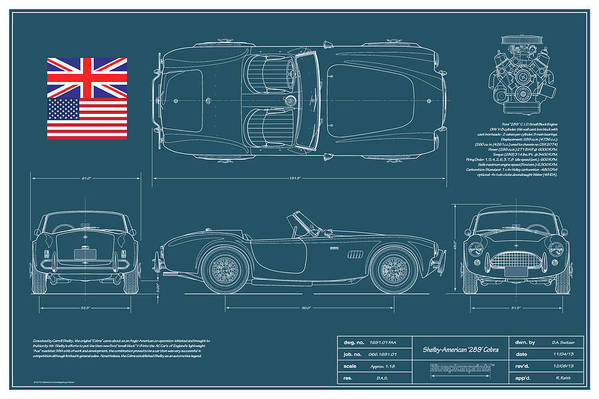 Carroll Shelby Art Print featuring the drawing Shelby-american 289 Cobra by Douglas Switzer