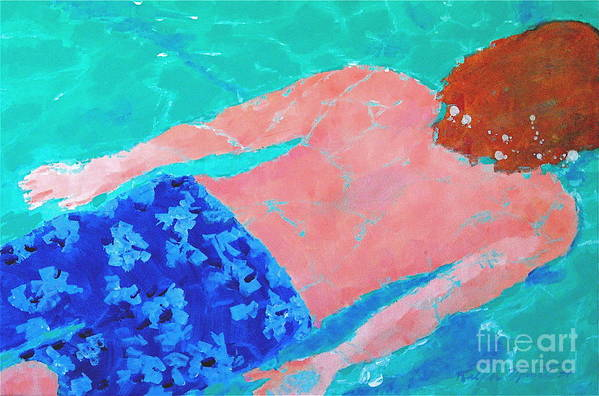 Swimming Art Print featuring the painting Silent Motion by Art Mantia