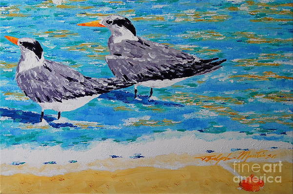 Beach Art Art Print featuring the painting South Beach Visitors by Art Mantia