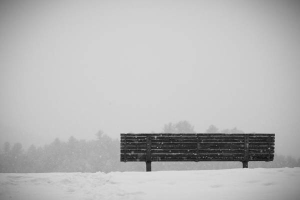 Winter Art Print featuring the photograph Two Lovers Sat On A Park Bench by Nathan Larson