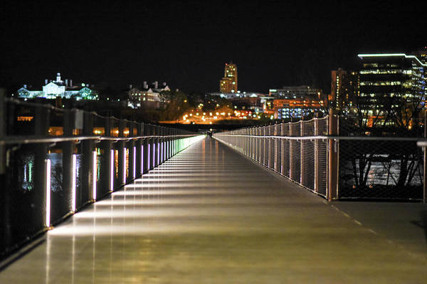 Rva Art Print featuring the photograph Tyler Potterfield Bridge At Night by Doug Ash