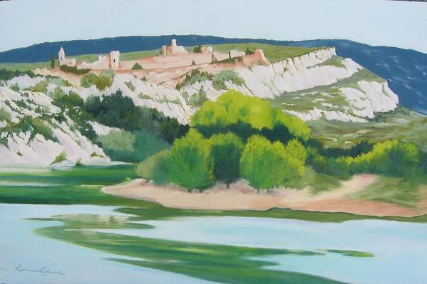 Landscape Art Print featuring the painting Village Above L'ardeche by Roxanne Rodwell