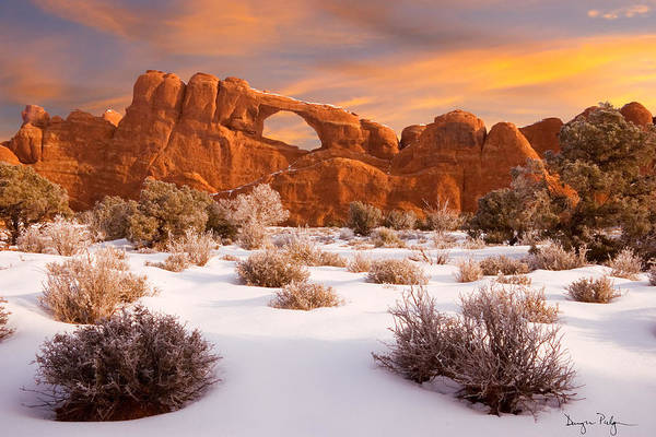 Arches National Park Print featuring the photograph Winter Dawn At Arches National Park by Utah Images