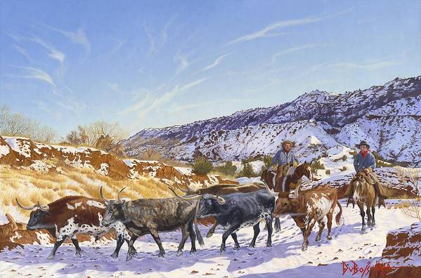Longhorn Art Print featuring the painting Workin by Howard Dubois