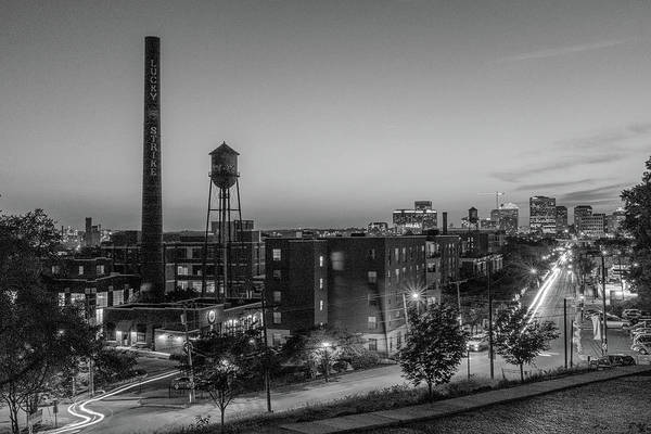 Richmond Va Art Print featuring the photograph Libby Hill At Night In Black And White by Doug Ash