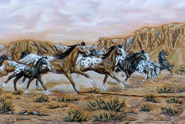Horses Art Print featuring the painting Being Free by Lilly King