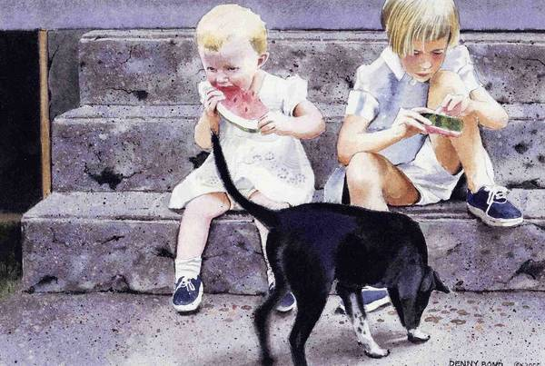 Children Art Print featuring the painting Cleaning Up by Denny Bond