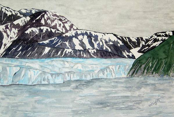 Glacier Art Print featuring the painting Hubbard Glacier In July by Larry Wright