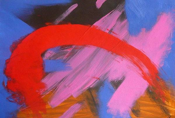 Abstract Art Print featuring the painting Red Arch by Richard OBrien