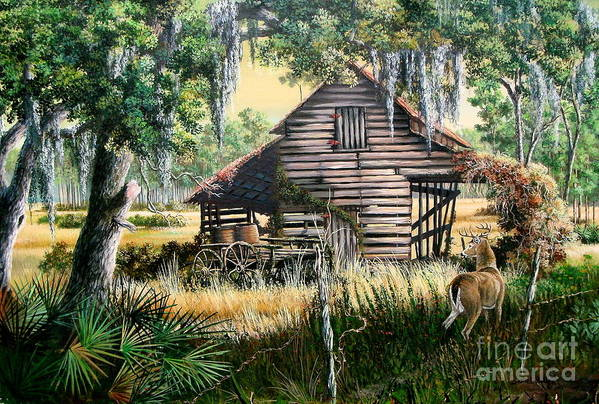 Florida Art Print featuring the painting Old Floridaturpentine Barn-a Florida Memory by Daniel Butler