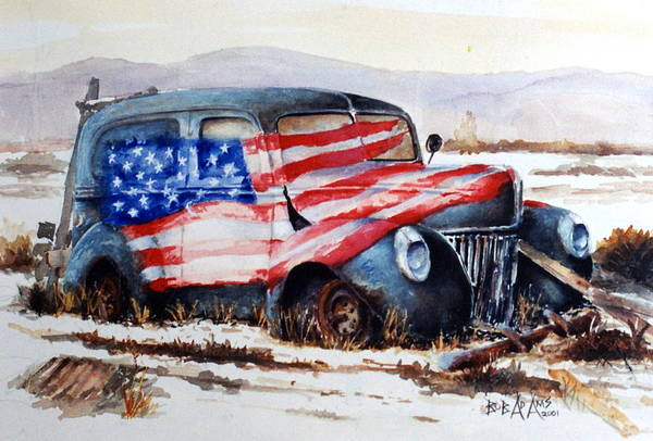 Old Truck Art Print featuring the painting Old Glory by Bob Adams