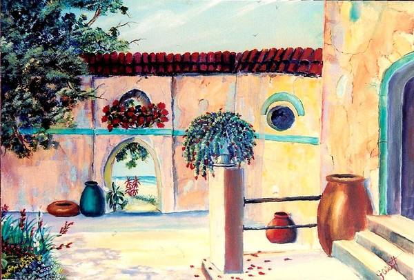 Villas Art Print featuring the painting Villa De Azul by Joan Gossett