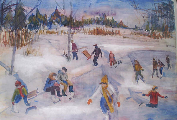 Landscape Art Print featuring the painting Pond Eddy Skating by Joyce Kanyuk