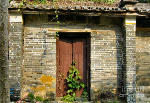 Door Art Print featuring the photograph Old Chinese Village Door Series Sixteen by Kathy Daxon