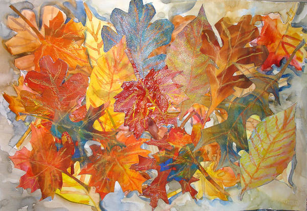 Collage Art Print featuring the mixed media autumn Leaves Collage III by Joyce Kanyuk