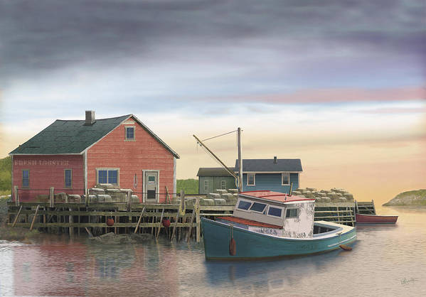 Lobster Fishing Cabin Art Print featuring the digital art Bygonedays by Russell Cleversley