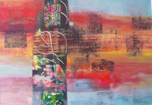 Abstracted Landscape Art Print featuring the painting Secrate Strata by Miriam Pinkerton