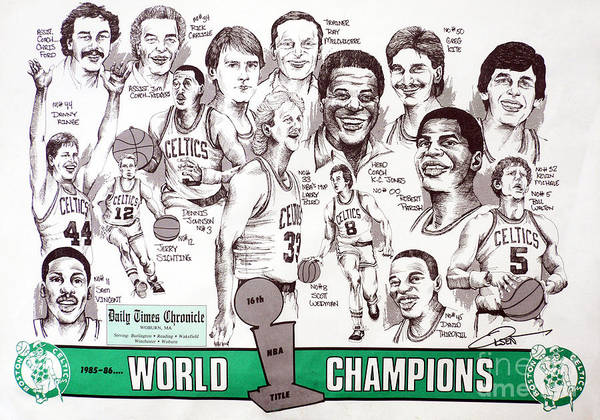 Nba Art Print featuring the drawing 1986 Boston Celtics Championship Newspaper Poster by Dave Olsen
