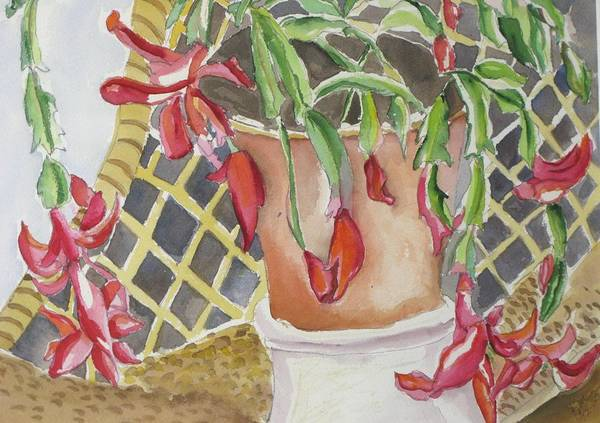 Still Life Art Print featuring the painting Christmas Cactus by Kathy Mitchell