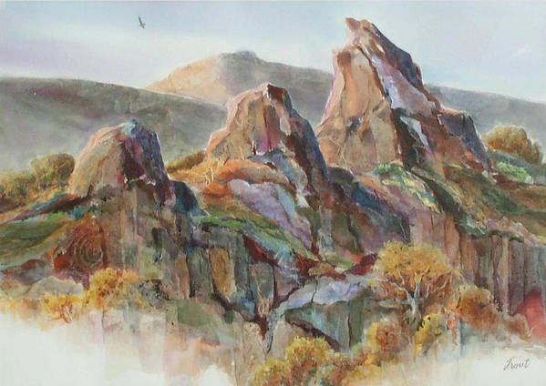 Landscape Mixed Media Art Print featuring the painting Three Sisters by Don Trout