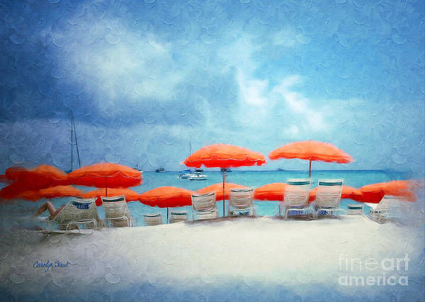 Beach Tropical Seascape Seaside Beach Art Art Print featuring the painting A Bit Of Paradise by Carolyn Staut