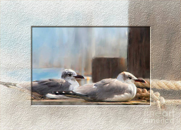 Seascape Birds Sea Birds Digital Media Art Print featuring the painting A Place In The Sun by Carolyn Staut
