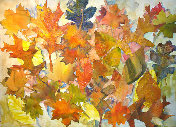 Autumn Art Print featuring the mixed media Autumn Leaves by Joyce Kanyuk
