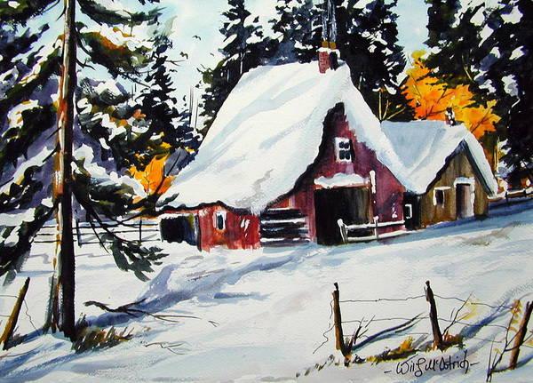 Quebec Sugar Shack At Grand Mere Art Print featuring the painting Sugar Shack At Grande Mere by Wilfred McOstrich