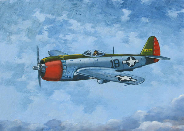 Airplanes Art Print featuring the painting Thunderbolt by Murray McLeod