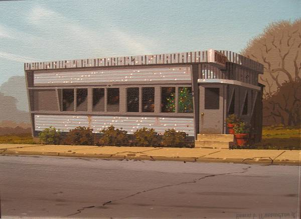 Diner Art Print featuring the painting Holiday Diner by Robert P Waddington