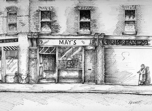 Dublin Streetscape Art Print featuring the painting Mays Shop North King Street Dublin 7 by Brendan Lynch