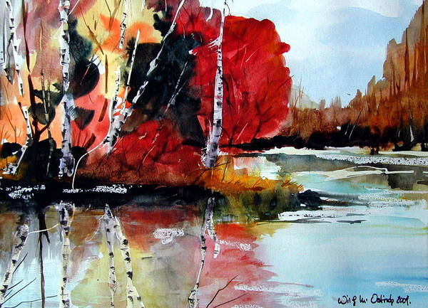 Landscape Art Print featuring the painting The Colours Of Autum Definitely Red by Wilfred McOstrich