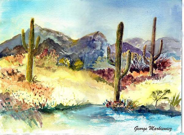 Desert Landscape Art Print featuring the print Desert In The Morning by George Markiewicz