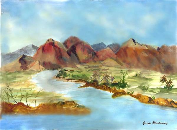 Desert Mountains And Water Art Print featuring the print Mountain Range by George Markiewicz