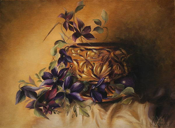 Still Life Art Print featuring the painting Purple Clematis by Michelle Kerr