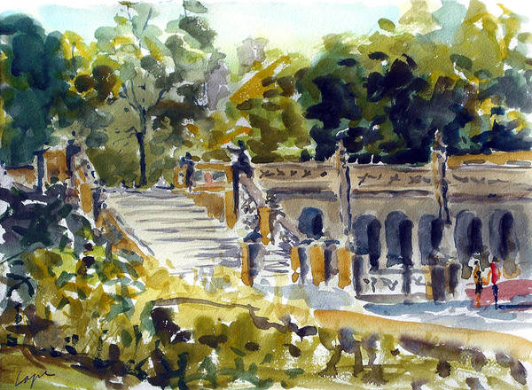 Bethesda Fountain Art Print featuring the painting The Grotto Steps by Chris Coyne