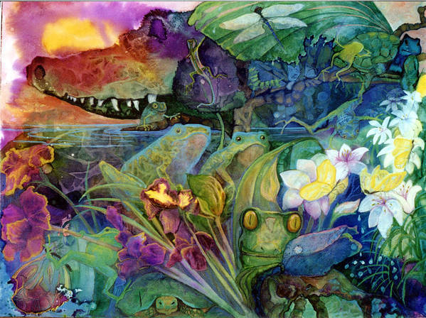 Aligator Art Print featuring the painting Bayou Magic by Valerie Aune