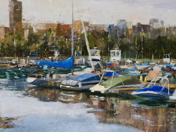 Cityscape Art Print featuring the painting Boats In Montrose Harbor by Nancy Albrecht