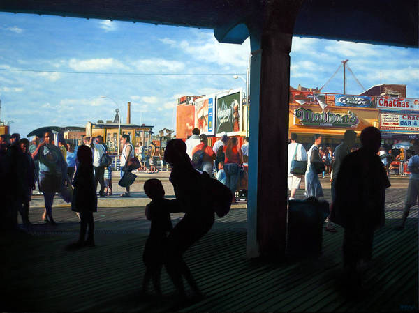 Coney Island Art Print featuring the painting Coney Island Stroll by Randy Ford