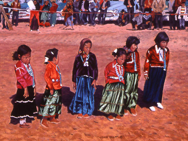 Navajo Indian Southwestern Monument Valley Art Print featuring the painting Pretty Maids All by John Watt