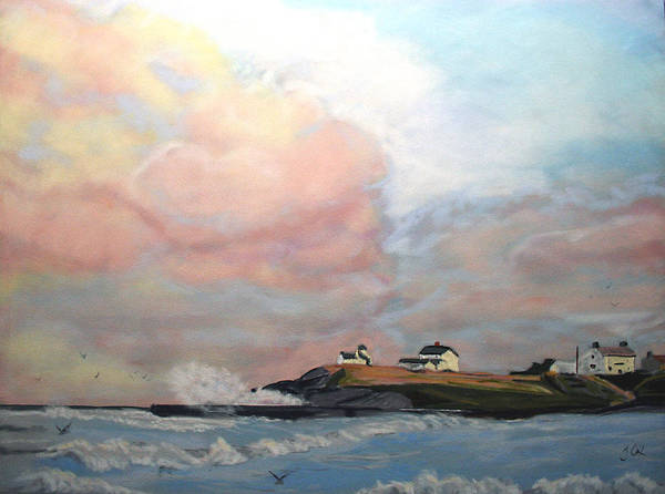 Seascape Art Print featuring the painting Seaton Sluice. by John Cox