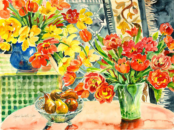 Watercolor Art Print featuring the painting Studio Still Life by Alexandra Maria Ethlyn Cheshire