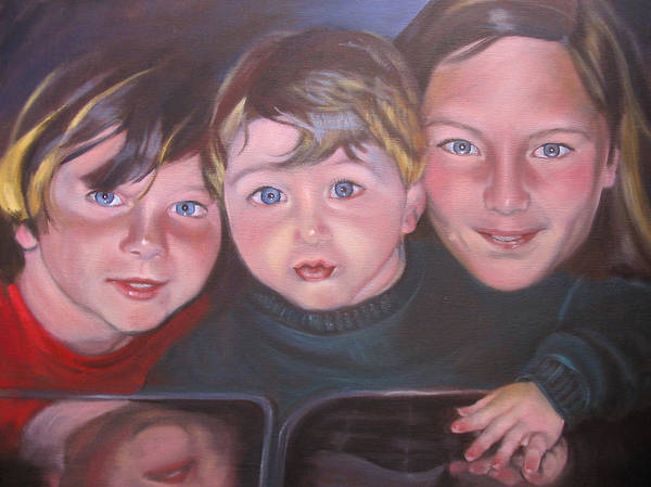Children Portraits Art Print featuring the painting The Grandkids by Kaytee Esser