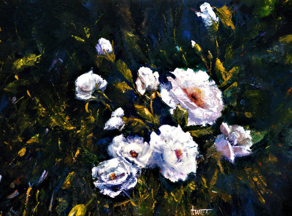 Flowers Art Print featuring the painting White Roses by Jimmie Trotter