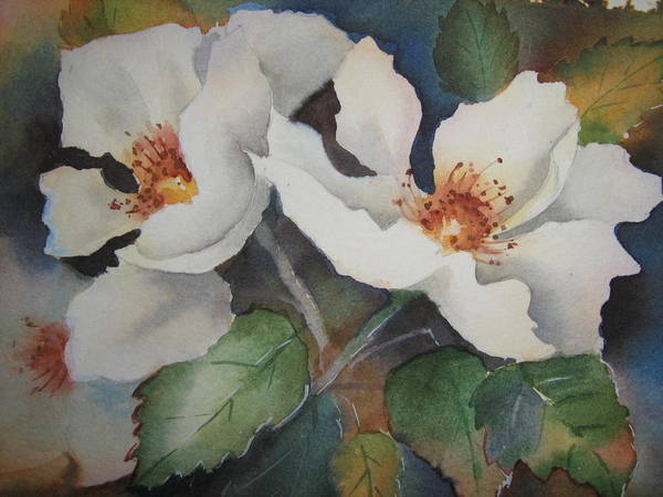 Hedge Roses Art Print featuring the painting Hedge Roses by Heidi Brummer